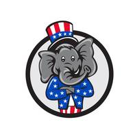 Republican Elephant Mascot Arms Crossed Circle Car