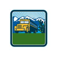 School Bus Cactus Mountains Square Retro