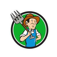 Farmer Pitchfork On Shoulder Circle Cartoon