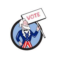 Uncle Sam Holding Placard Vote Circle Cartoon