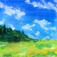 Landscape Sketch with Clouds