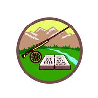 Fly Box Rod Mountains Circle Retro