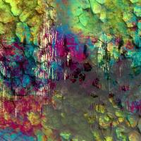 Corroded Abstract in Purple, Green, and Blue Art