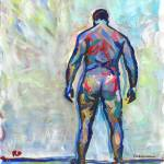 Against The Wall male nude painting picture by RD Riccoboni