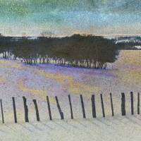 fence line and trees of oak by r christopher vest