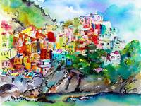 Manarola Cinque Terre Colorful Watercolor