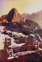 Watercolor painting of ruin of Machu Picchu, Peru