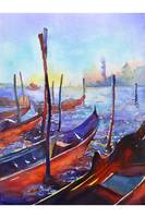 Watercolor painting of gondolas in Venice, Italy