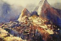 Watercolor painting of Incan ruins of Machu Picchu
