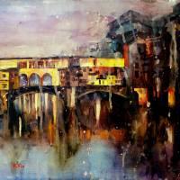 """""""Watercolor painting of Ponte Vecchio bridge- Flore"""" by RFoxWatercolors"""