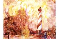 Watercolor painting of Cape Hatteras at sunset- NC