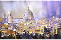 Watercolor painting of Duomo in Florence, Italy