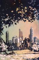 Watercolor painting of Raleigh, NC skyline at dawn
