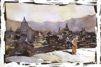 Watercolor painting of monk & Bagan ruins- Myanmar