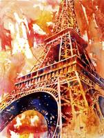 Watercolor painting of Eiffel Tower at sunset- Par