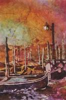 Watercolor batik of Venice, Italy gondolas at dawn