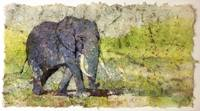 Watercolor batik painting of elephant walking