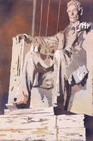 Watercolor painting of the Lincoln Monument- USA
