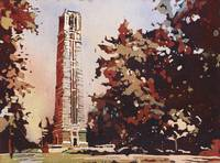 Watercolor painting of NCSU Bell-Tower, Raleigh