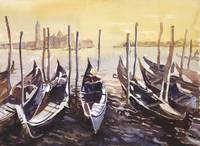 Watercolor painting of Venice gondolas- Italy