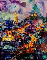 Watercolor painting of downtown Bern- Switzerland