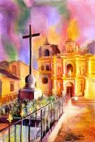 Watercolor painting of church in Antigua-Guatemala