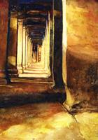 Watercolor painting of Angkor Wat interior- Cambod