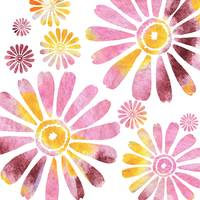 Watercolor Silhouette Daisies In Pink