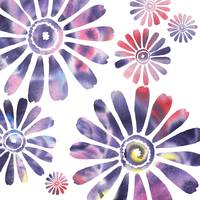 Daisies Watercolor Silhouette In Purple