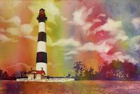 Watercolor painting of lighthouse- North Carolina