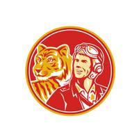 World War 2 Pilot Airman Tiger Circle Retro