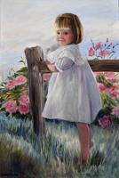Little Girl by Fence
