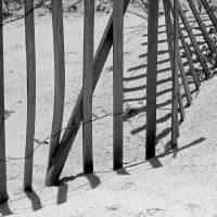 Beach Fence Shadows Black and White by Karen Adams