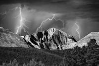 CO Longs Peak with Lightning Striking Black and Wh