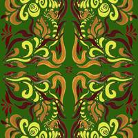 Whimsical Organic Pattern In Green And Yellow I