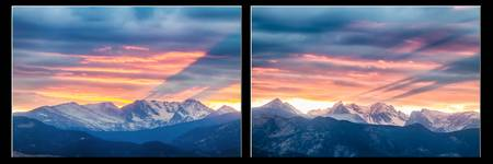 Rocky Mountains Sunset Waves Panorama Collage