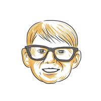 Caucasian Boy Glasses Head Smiling Drawing