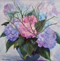 Hydrangeas with Branches 20Wx20H oil
