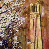 """NCSU Bell-Tower watercolor painting"" by RFoxWatercolors"