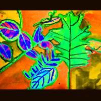 Bright Falling Leaves with Black Border by Karen Adams