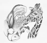 christmas giraffe and Santa