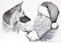 German Shepherd and Santa