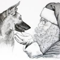 German Shepherd and Santa Art Prints & Posters by Roseann Riggi-Knudson