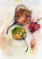 Autumn Fallen Leaves Watercolor and Ink
