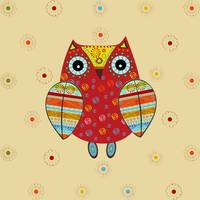 Cute owl with ethnic ornament