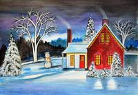 Winter Cottage with snowman Holiday art