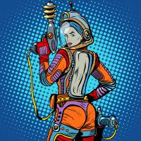 """Girl space marine science fiction retro"" by studiostoks"