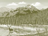 Woodcut Vintage Mountain