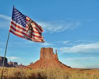 Flag Blowing in Wind - Mitten Monument