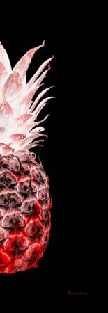 14LR Artistic Glowing Pineapple Digital Art Red
